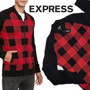 Express Check Zip Front Sweater